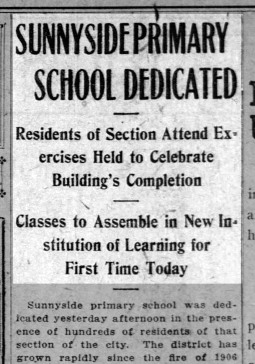 """Sunnyside Primary School Dedicated"" SF Call, 12 April 1909. From newspapers.com."