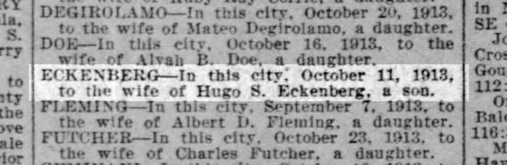 Birth announcement, SF Call, 28 Oct 1913. From newspapers.com.