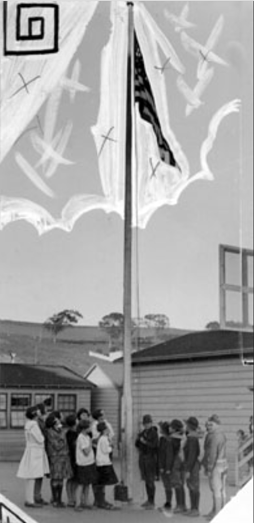 1927Feb15-SS-Sch-Students-raising-flag