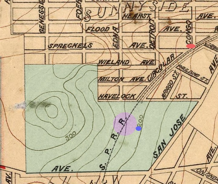 From 1899 Sewer map for San Francisco, altered with color. The Ewells lived at a house at red dot. Ellen Furey's shack was about at purple dot. Lavender marks approximate place of incident. SPRR track now the route of I-280 Freeway.