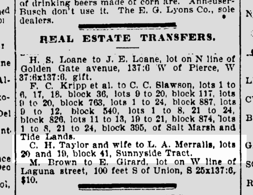 Newspaper realestate listing for purchase of 236 Sunnyside Ave (258 Monterey Blvd now), SF Chronicle, 5 March 1897.