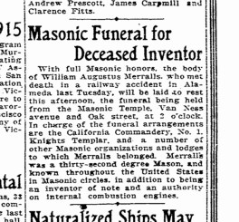 W.A. Merralls given a Masonic Funeral. SF Chronicle, 6 Sept 1914.