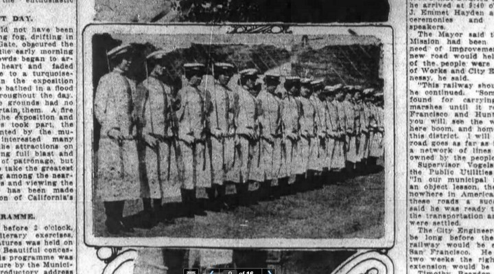 Ladies in uniform, auxiliary of the Native Sons something, the War is on. SF Chronicle 8 Sep 1914.