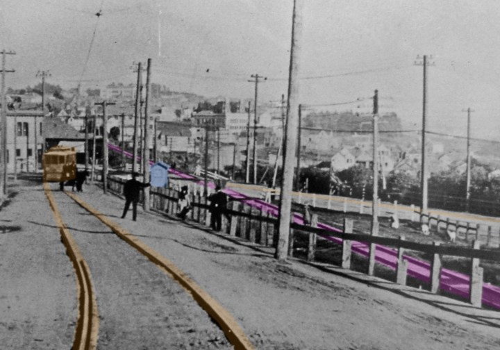 Marked detail from photo above -- note goats on far right, next to SP train tracks. Gatehouse in blue.