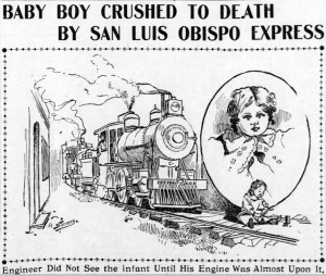 Toddler living at 272 Circular Ave crawled through fence and onto train tracks. SF Call, 6 February 1900.