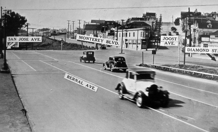 About 1930. Area now subsumed by I-280 excavations. The Sunnyside crossing would be more or less under the 'M' in Monterey. Photo from Western Neighborhood Project, courtesy a private collector.