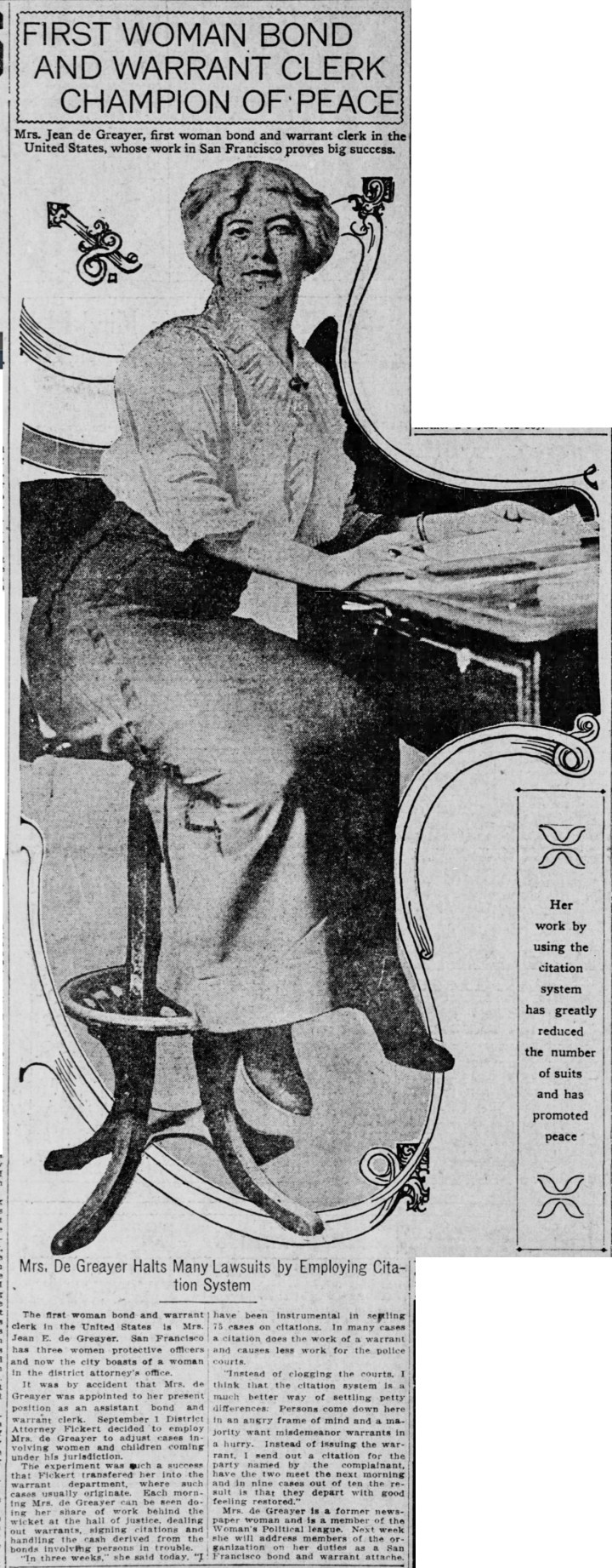 Jean de Greayer appointed bond and warrant clerk. SF Call, 29 Dec 1913, p.9.