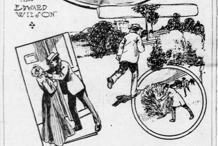 SF Call, 11 Feb 1906. Drawing showing attacker getting away into some trees.