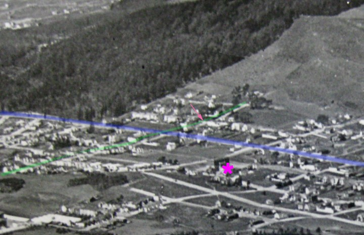 1921 Aerial photo, looking northwest. Monterey Blvd is blue. Gennessee Street is green. Sunnyside School is the pink asterisk. The Wilson house is at the peach-colored arrow. Cropped from http://opensfhistory.org/Image/700/wnp27.0542.jpg OpenSFHistory.org.