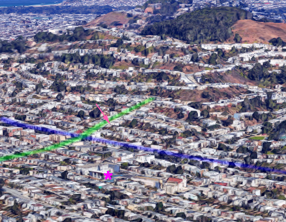 2017 Google Earth view from similar perspective. Monterey Blvd is blue. Gennessee Street is green. Sunnyside Elementary School is pink asterisk. Wilson house is at peach-colored arrow.