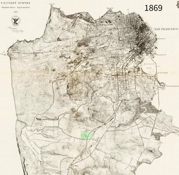 1869 Coast Survey map, altered: House of Refuge lot marked in green. From DavidRumsey.com.
