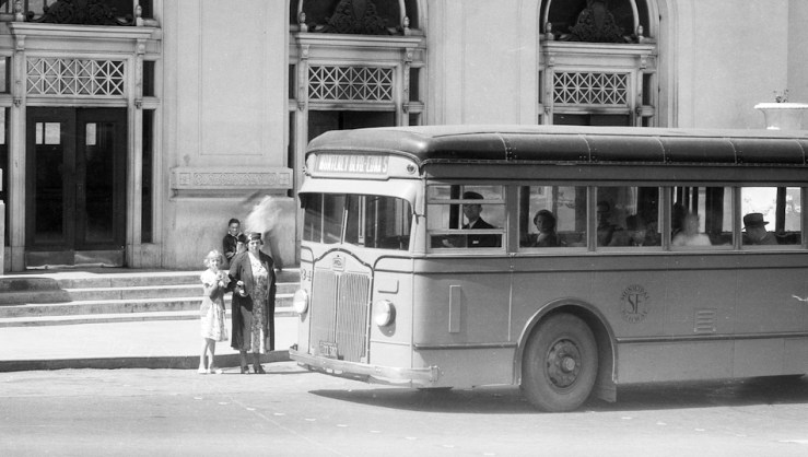 1935. A mother and child at Forest Hill Station, taking the no.1 bus. Photo courtesy SFMTA, cropped from A4598. http://sfmta.photoshelter.com.