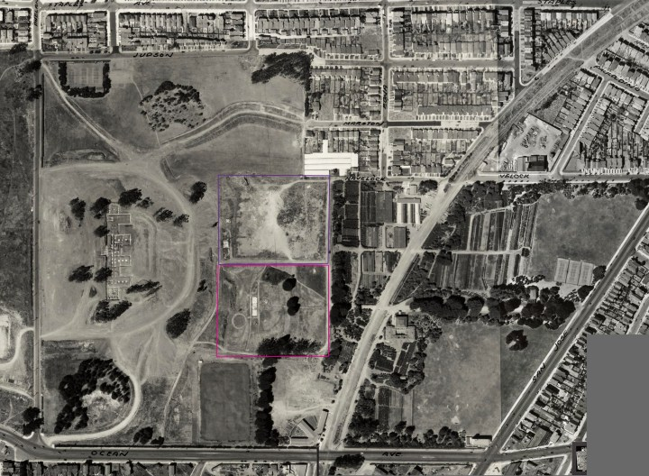 1938 aerial photo, altered to show location men's jail (purple) and womens' jail (pink) shortly after buildings demolished. From DavidRumsey.com. Click for larger image. https://i0.wp.com/sunnysidehistory.org/wp-content/uploads/2017/05/1938-aerial-balboapark-inglesidejail-marked.jpg?resize=720%2C528&ssl=1