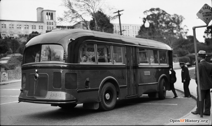 1938, Bus no.1 stopping at Forest Hill Station. OpenSFHistory WNP14.1182.