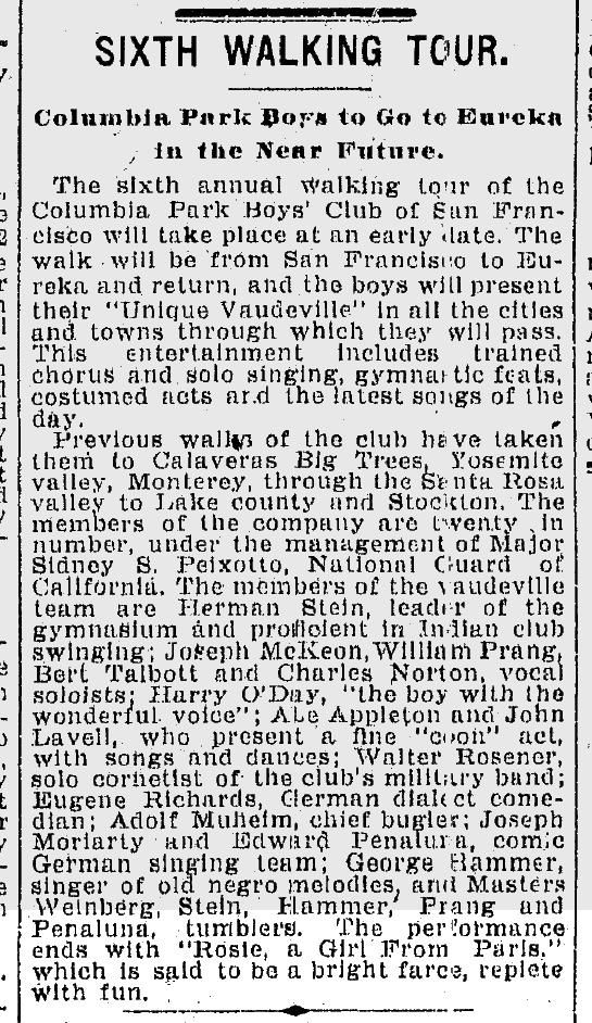 1903Jun06-Chron-p8-CPBC-sixth-walking-tour-Rosie-mention