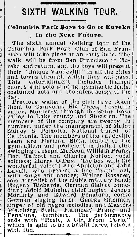1903Jun06-Chron-p8-CPBC-sixth-walking-tour-Rosie-mention