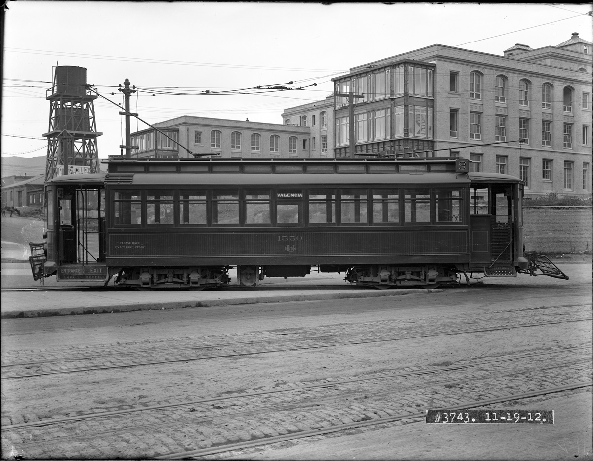 1912 streetcar, near Valencia Car house, St Lukes' Hospital visible behind. Courtesy SFMTA http://sfmta.photoshelter.com