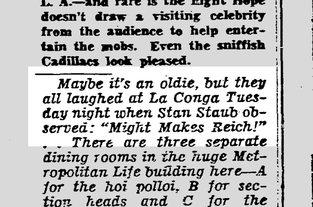 From Herb Caen's column 31 Oct 1940.