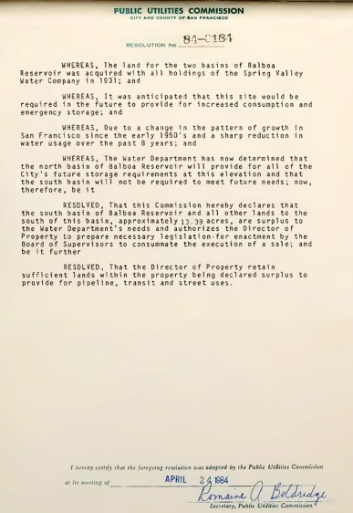 1984Apr24-SFPUC-minutes-declared-surplus-BalboaReservoir-s