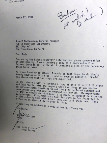 1984Mar27-letter-DFeinstein-to-PUC-BR-housing-s