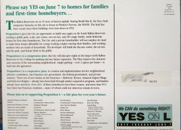 1988 Back of postcard for Yes on Prop L campaign. San Francisco History Center.