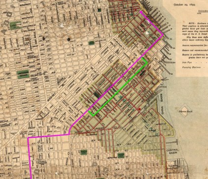 1899 City map, marked with pink line to show route of San Francisco and San Mateo Railway. Return route South of Market shown with green line. View entire map. https://sunnysidehistory.org/wp-content/uploads/2018/05/1899-SF-Sewer-City-map-SFSMRR-marked.jpg