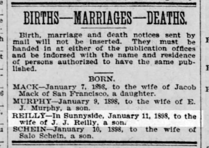 1898Jan12-SFCall-p13-Reilly-birth-announce