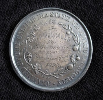 1892. Silver Medal from California State Fair, awarded to William Merralls. Front. Collection of Glen Park Neighborhoods History Project. Courtesy Allan Merralls.