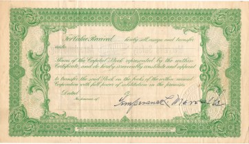 Dec 1910. Stock certificate (reverse side) Merralls Safety Aeroplane Manufacturing Company. Temperance Merralls signature. Collection of Glen Park Neighborhoods History Project. Gift of Allan Merralls.