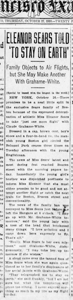 1910Oct27-SFExaminer-Eleanor-Sears-p1