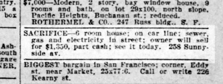 SF Call, 19 Apr 1913. This was not the Merralls own house. California Digital Newspaper Collection.