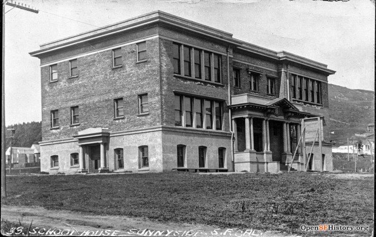 1909. The first Sunnyside School, just completed. OpenSFHistory.org.