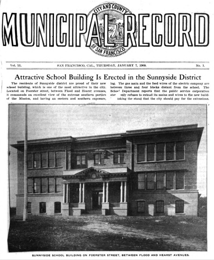 1909. The first Sunnyside School. The Municipal Record. Google Books.