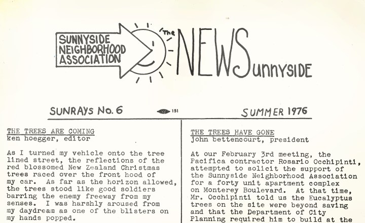 1976. Sunnyside News, Sunnyside Neighborhood Association.