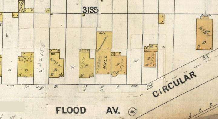 1905 Sanborn Map, portion of sheet 718, showing Sunnyside Hall at 10 Flood Ave. DavidRumsey.com.