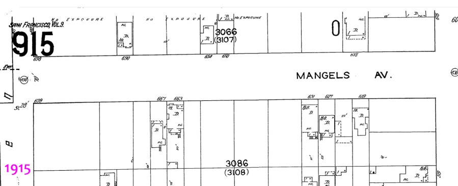 1915 Sanborn map, 600 block of Mangels Ave.