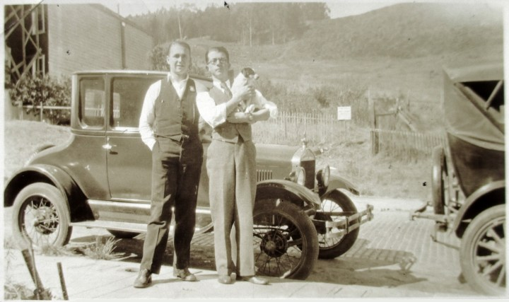 Summer 1927. Arnold Behler (left) and Lawrence Behler, in front of 663 Mangels Ave. Photo courtesy Geoff Follin.