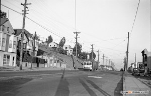 1942. Monterey Blvd looking west to the Detroit Steps, visible to left of streetcar (wood). OpenSFHistory.org