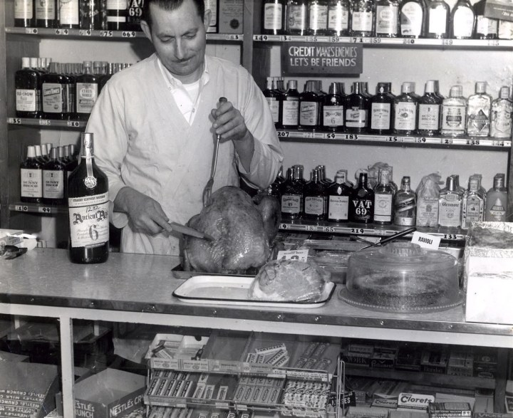 1965c. Saverio Versaggi as proprietor of Sam's Vienna Delicatessen. Photo courtesy Charles Versaggi.