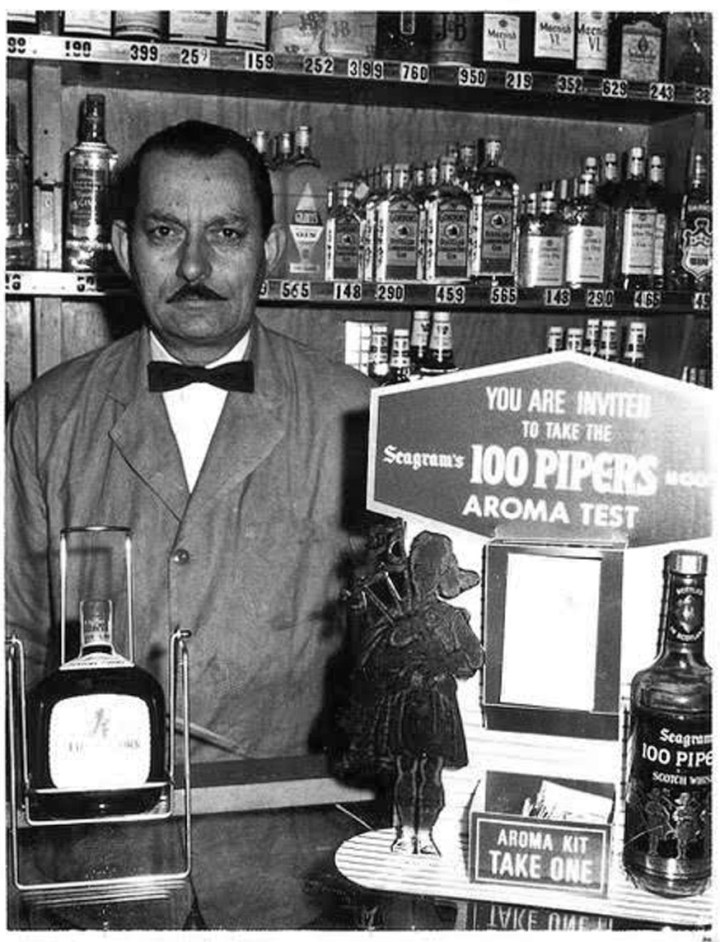 1960c. Saverio Versaggi as proprietor of Sam's Vienna Delicatessen. Photo courtesy Charles Versaggi.