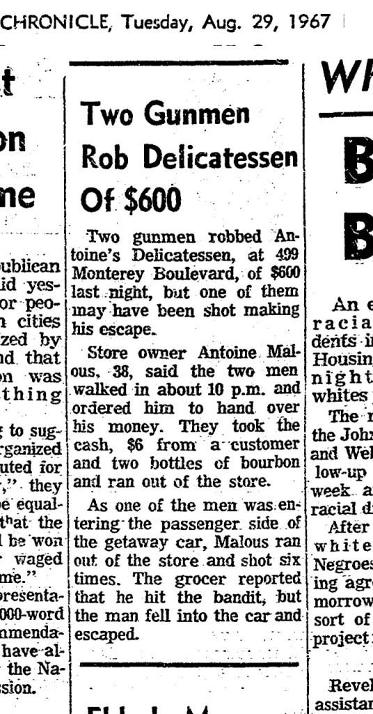 SF Chronicle, 29 Aug 1967.