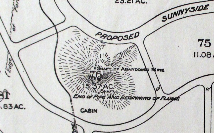 1910. Detail from Map of Forest Tract and San Miguel Ranch showing Lands owned by the Estate of Adolph Sutro. California Historical Society.
