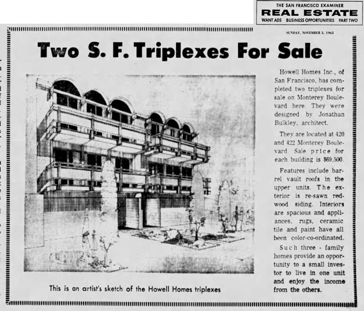 SF Examiner, 3 Nov 1963. Feature: 420-422 Monterey Blvd.