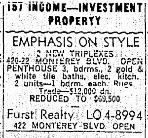 SF Chronicle, 10 Nov 1963. For 420-422 Monterey.