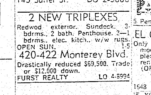 SF Chronicle, 13 Oct 1963. For 420-422 Monterey.