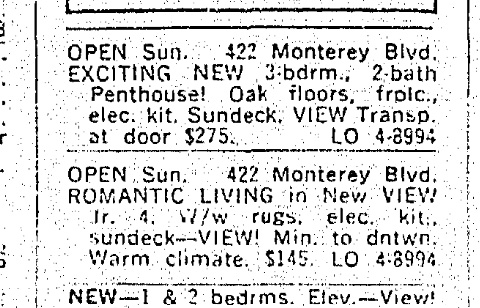 SF Chronicle, 29 Sep 1963. Rentals offered, 422 Monterey.
