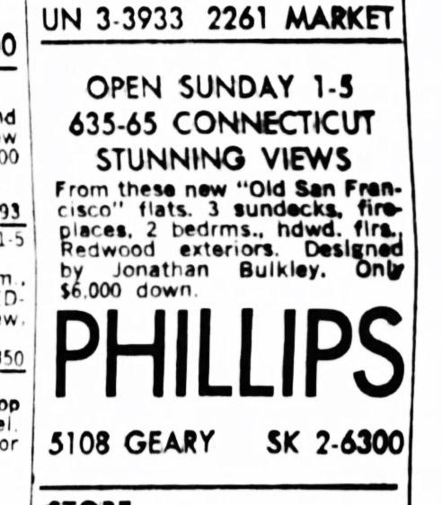 SF Examiner, 26 Jul 1964. For 635-665 Connecticut Street.