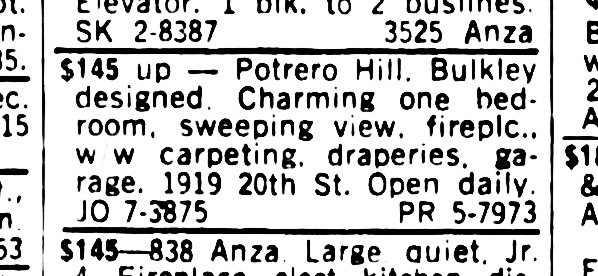 SF Examiner, 9 Jun 1964. For 1919 - 20th Street.