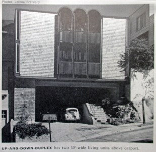 House and Home, November 1966. Original appearance of two units at 375-377 Diamond Street. Designed by Bulkley, 1963.