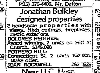 SF Chronicle, 3 Dec 1967. For 300 Hill and 671-677 (?) Connecticut Street.